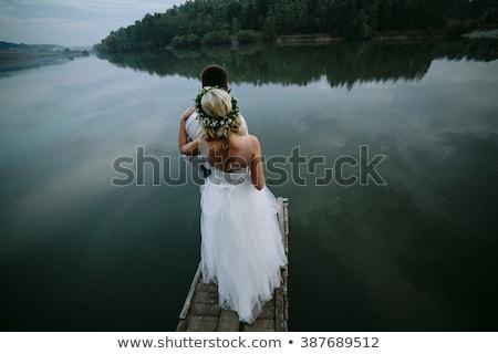 ślub para starych molo stwarzające Zdjęcia stock © tekso