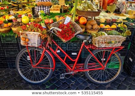 fruit market with old bike in campo di fiori in rome stock photo © freesurf