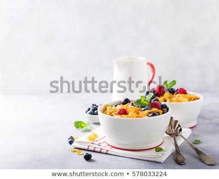 bowl of corn flakes and jug of milk stock photo © digifoodstock