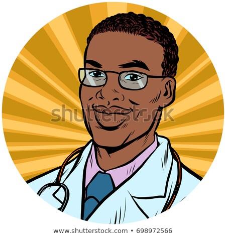 férfi · orvos · illusztráció · sztetoszkóp · izolált · orvos · orvosi - stock fotó © studiostoks