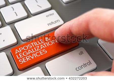 Szolgáltatások modern laptop gomb 3D fekete Stock fotó © tashatuvango