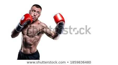Boos shirtless man handschoenen crossfit gymnasium Stockfoto © wavebreak_media