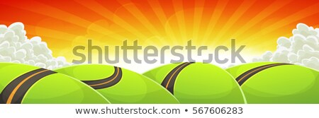 Wide Cartoon Travel Landscape With Road And Shining Sun Stock photo © benchart