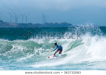 男 ジャンプ カイト 風力タービン 自然 色 ストックフォト © IS2