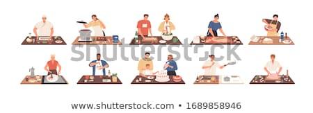 Gotowania ilustracja dziewczyna biały żywności ognia Zdjęcia stock © get4net