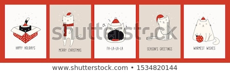 Cute Christmas card with funny fat Christmas carol  Stock photo © balasoiu