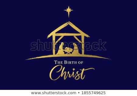 Noel Hristiyan sahne bebek İsa siluetleri Stok fotoğraf © Krisdog