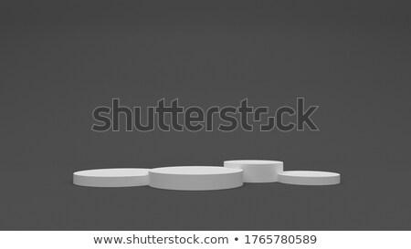 witte · grijs · cilinder · podium · drie · rangschikken - stockfoto © oakozhan