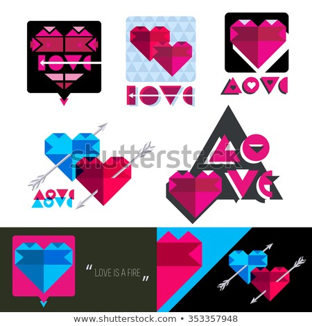 Ruby heart and arrow, happy valentines day, vector illustration Stock photo © carodi
