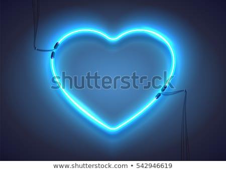 Szeretet kék neon szalag gyors könnyű Stock fotó © Voysla