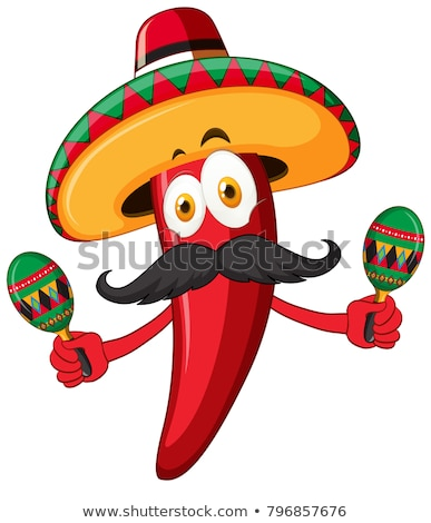 Red chili with mexican hat and maracas Stock photo © bluering