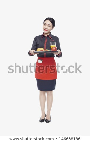 vrouw · dienblad · vol · fast · food · lunch - stockfoto © rastudio