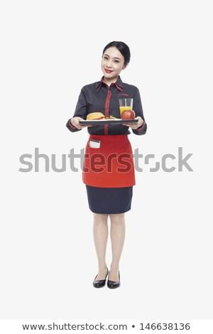 Vrouw dienblad vol fast food lunch Stockfoto © RAStudio