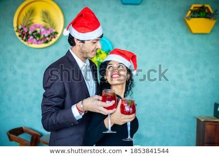 Retrato feliz casal coquetel óculos Foto stock © wavebreak_media