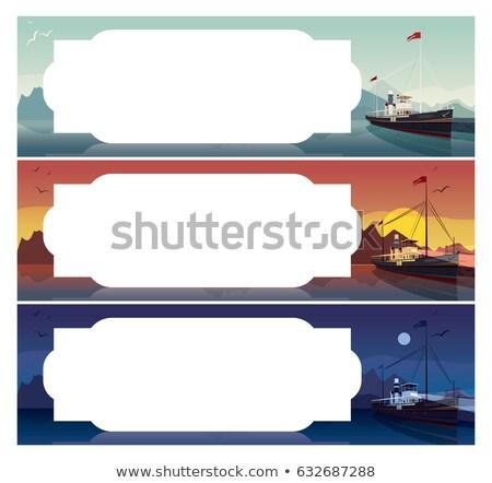 Horizontal template with old ship at night Stock photo © alexanderandariadna