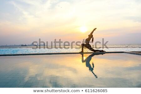 genç · kadın · ayakta · yüzme · havuzu · güzel · su · vücut - stok fotoğraf © is2