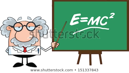 professor or scientist cartoon character with pointer presenting on a board stock photo © hittoon