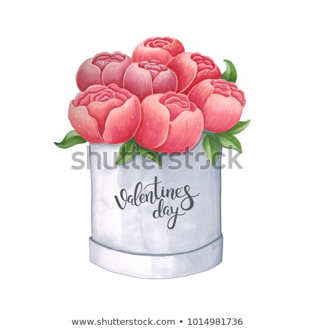 Sketch markers peony in a box for Valentine's day. Sketch done i Stock photo © user_10003441