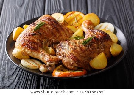 ızgara tavuk bacaklar biberiye tablo akşam yemeği restoran Stok fotoğraf © Virgin