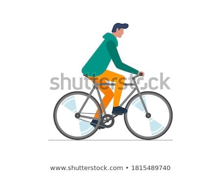 Cartoon man rides a bike isolated illustration Stock photo © tiKkraf69