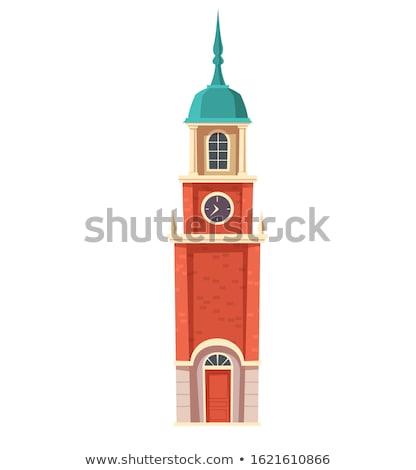 часы башни флюгер Top здании дома Сток-фото © luissantos84