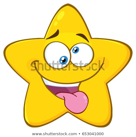 Mad Yellow Star Cartoon Emoji Face Character With Crazy Expression And Protruding Tongue Stock photo © hittoon