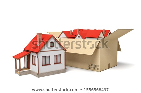 House in a cardboard box. Concept of buying a dwelling. 3D Rendering Stock photo © alphaspirit