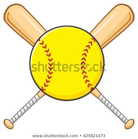Yellow Softball Over Crossed Bats Logo Design Stock photo © hittoon