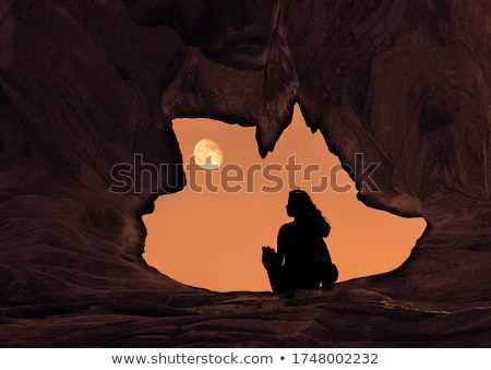 A moonlight cave landscape Stock photo © bluering