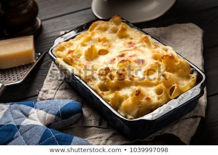 Rustiek gouden gebakken macaroni kaas Stockfoto © zkruger