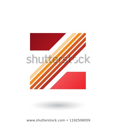 Stock photo: Red Letter Z with Thick Diagonal Stripes Vector Illustration