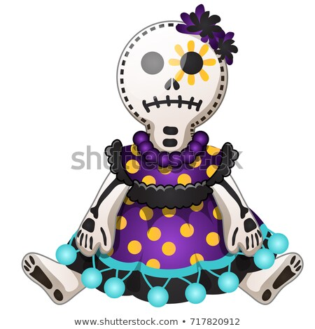 Funny doll with contours in the form of strokes and dotted lines isolated on white background. Idea  Stock photo © Lady-Luck