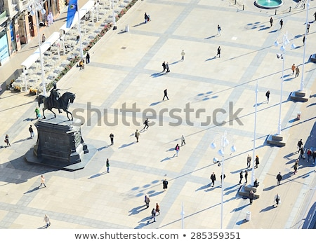 Zagreb historic city center aerial view Stock photo © xbrchx