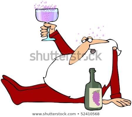 Rajz részeg férfi pizsama néz Stock fotó © cthoman