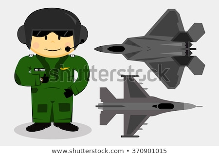 Cartoon Military Stealth Jet Fighter Plane Isolated Stock photo © mechanik