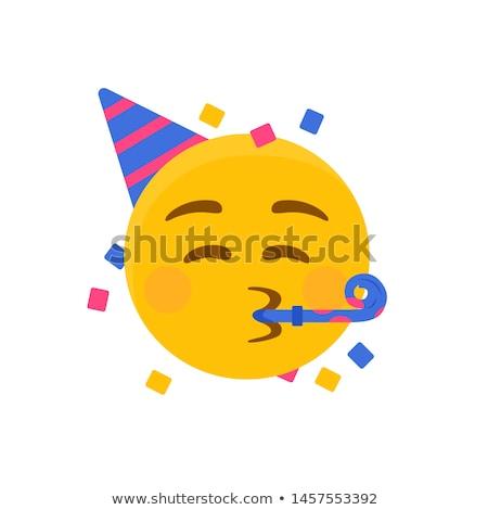 Partij emoticon gezicht gelukkig ontwerp leuk Stockfoto © yayayoyo