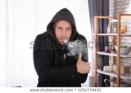 beteg · fiatalember · szenvedés · influenza · otthon · kanapé - stock fotó © andreypopov