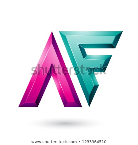 Magenta and Green Glossy Dual Letters of Letters A and F Vector  Stock photo © cidepix