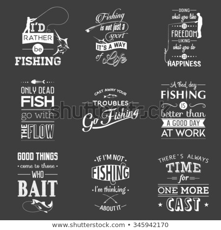 Fishing Posters Set and Text Vector Illustration Stock photo © robuart