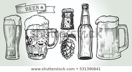 Oktoberfest Bier Objekte Set Hand gezeichnet Symbole Stock foto © robuart