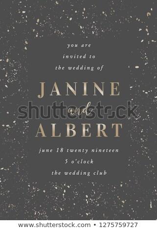 Golden Hochzeitseinladung Vorlage dunkel grau Probe Stock foto © ivaleksa