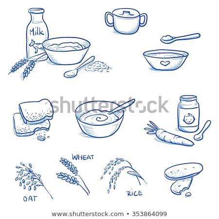 молочная · блюдо · дизайна · творог · синий · пластина - Сток-фото © rastudio