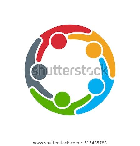 Emberek barátok csapatmunka kör ikon vektor Stock fotó © blaskorizov