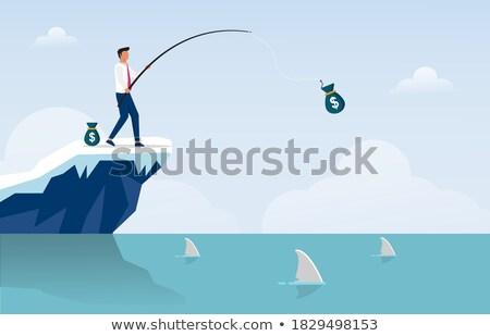 üzletember halászat felső fiatal pénz jövedelem Stock fotó © ra2studio