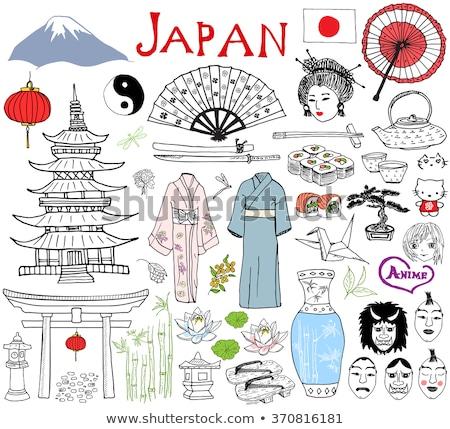 Japoński bramy gryzmolić ikona Zdjęcia stock © RAStudio