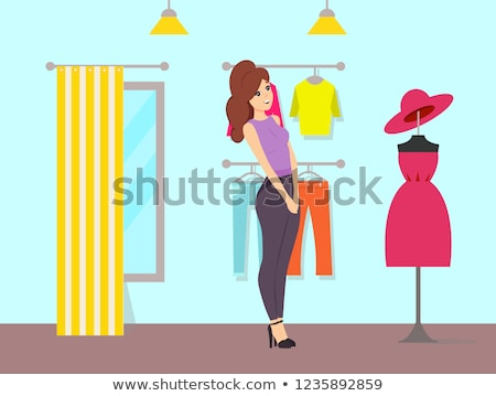 Woman Admiring Dress and Hat on Mannequin Vector Stock photo © robuart