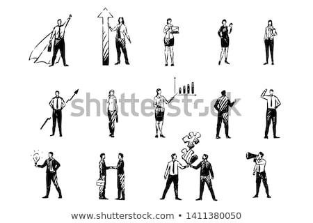Negócio esboço homem homem de negócios trabalhando laptop Foto stock © netkov1