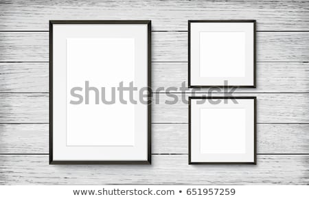 Realistic vertical gray wood frame template, frame on the wall mockup with decorative borders Stock photo © MarySan
