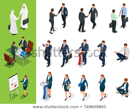 Stok fotoğraf: Arab Businesswoman Talking On The Phone Vector Flat Isolated On