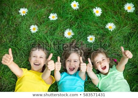 Tres ninos cara feliz ilustración nina feliz Foto stock © colematt